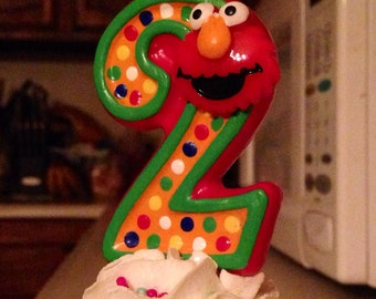 3 inch tall Elmo birthday candle - any number or colors