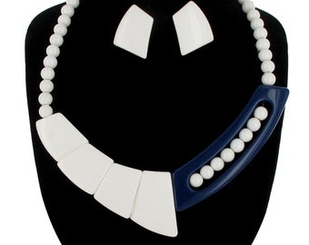 Earrings Necklace Jewelry Set Navy Blue White Lucite Bead Collar Geometric 1980s Vintage