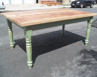Farm house dining table custom made from reclaimed wood made in the USA