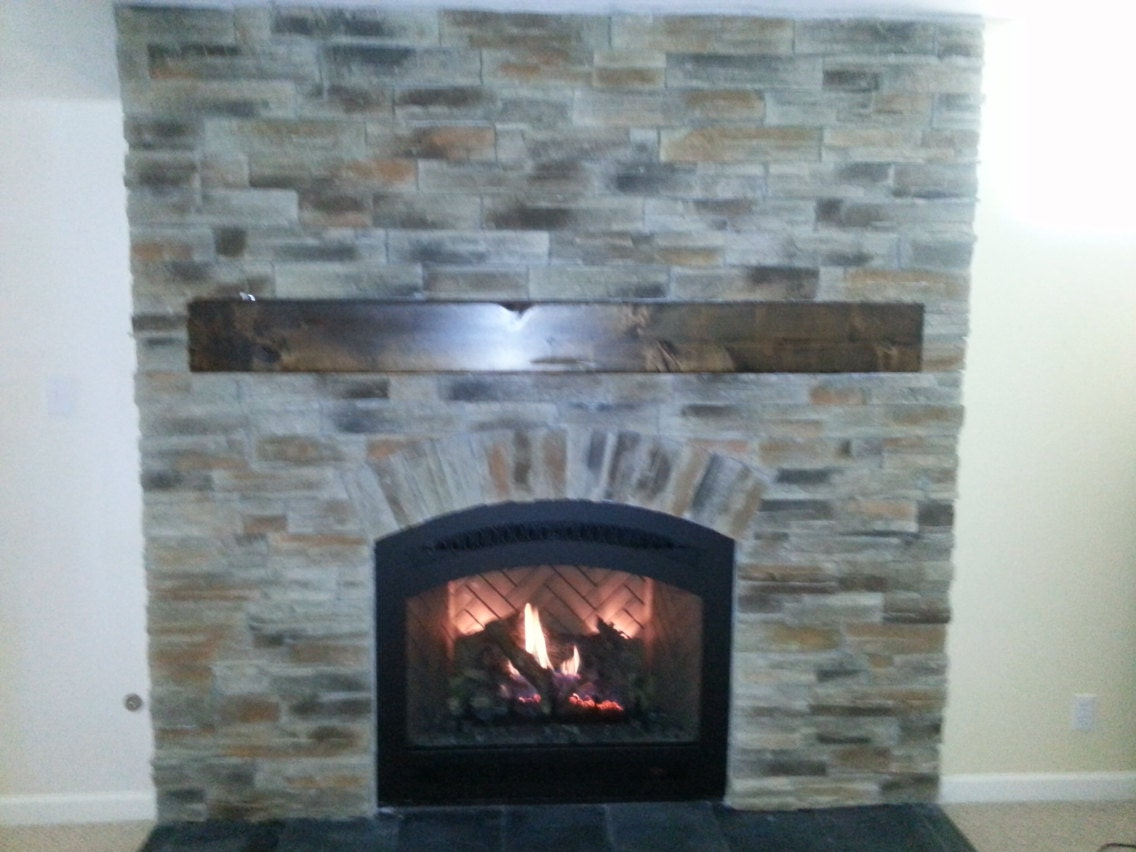 Knotty Alder Wood Distressed Beam Fireplace Mantel 7