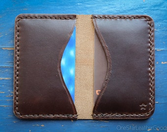 Two Pocket Card Wallet - hand stitched Horween Chromexcel leather - brown