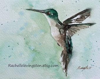 bird painting bird print bird art print bird ATC watercolor painting of hummingbird art print blue teal SMALL Artist Trading Card