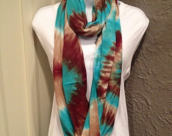 Tye dye scarf, hand dyed infinity scarf, hand dyed rayon scarf, brown, tan and jade green infinity scarf