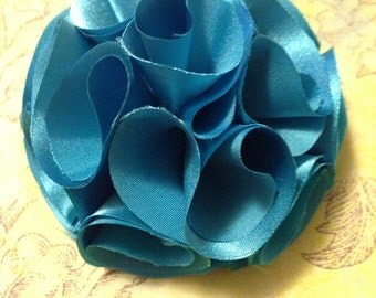 Turquoise Satin Fabric Flower Hair Clip
