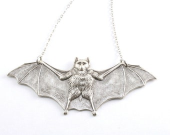 Silver Bat Necklace - Vampire Bat Jewelry, Large Silver Steampunk Gothic Victorian Bat Pendant