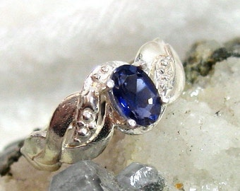 6x4 Iolite Ring, Dainty Iolite Ring .50 ct. 925 Sterling Silver Size 6