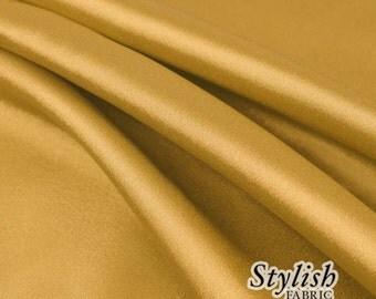 "60"" Dark Gold Charmeuse Satin Fabric by the Yard, Charmeuse Fabrics, Charmeuse Satin, Bridal Wedding Satin Fabric- 1 Yard Style 2800"