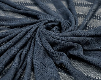 Navy Blue Open Knit Sweater Fabric Very Lightweight Open Sweater Knit Fabric by the yard - 1 Yard Style 6046