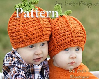 PDF Baby Hat Pumpkin Hats PATTERN - Crochet Pattern - Textured Pumpkin Hat Tutorial - Pumpkin Hat Pattern -by JoJosBootique