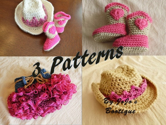 Free Crochet Pattern For Cowgirl Skirt : Crochet Baby Patterns Baby Cowgirl Hat Boots by JoJosPatterns