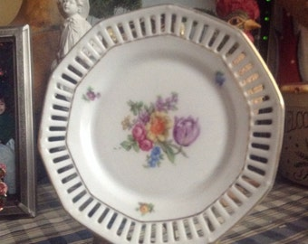 Shabby Chic Cottage Chic Floral Bouquet Dish