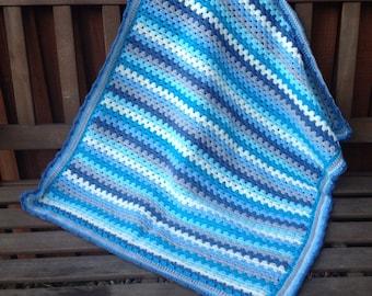 Blue hand-made granny stripe crochet baby blanket - ready-made