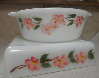 Fire King Peach Blossom Square Baking Dish and Casserole Dish with Handles