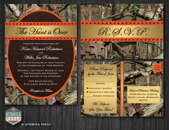 diy printable camo wedding invitation / rsvp postcard,