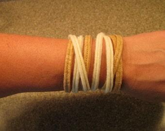 Felt Wrap Bracelet 100% Eco-fi Post-Consumer Recycled Plastic Bottles, Sandstone, Beige, Tan, Cream