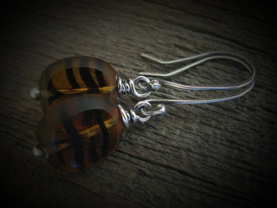 Sterling Silver and Topaz Brown Czech Glass Tiger Stripe Lentil Beads, Handmade/Hand Forged  Dangle Earrings