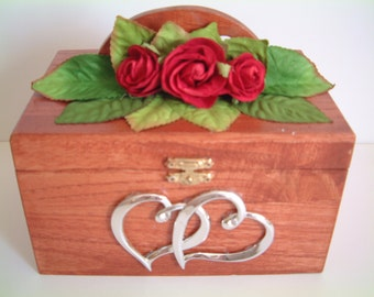 "Light Cherry Stained Jewelry Box / Paper Rose Accents 7.25""L x 5.25""W x 4.25""H"