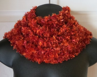 AUTUMN RED..Crochet Scarf..Cowl..Skinny Scarf..Gift