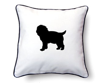 Maltipoo Pillow 18x18 - Maltipoo Silhouette Pillow - Personalized Name or Text Optional