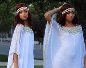 "Yara Yosif ""Azeeza"" bridal ramadan Eid kaftan caftan Silver beads on White fabric"