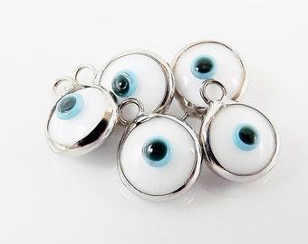 5 Mini White Evil Eye Nazar Artisan Glass Bead Charms - Silver Plated  Brass Bezel
