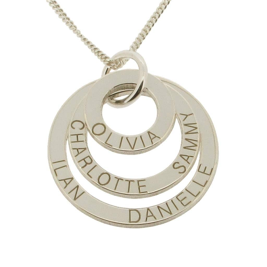 Nexus 20 Triple Bar Pendant: 9ct WHITE GOLD Personalised Family Name Necklace Or Pendant
