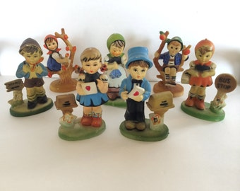 HUMMEL Figurines Resin set (7) Miniature Collectible Reproduction Statues Hummel Children Various Poses Sweet Vintage Collectible Figurines