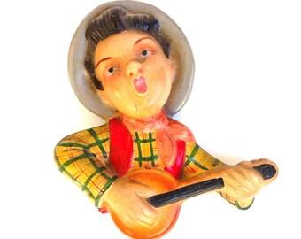Vintage decorative hand painted troubadour // banjoist