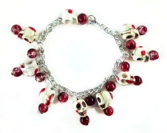 Unique Bloody Skull Handmade Silver Chain Bracelet Blood splatter Swivel Lobster Clasp