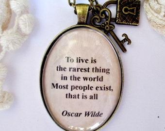 Oscar Wilde quote necklace, Oscar Wilde pendant, Oscar Wilde jewellery