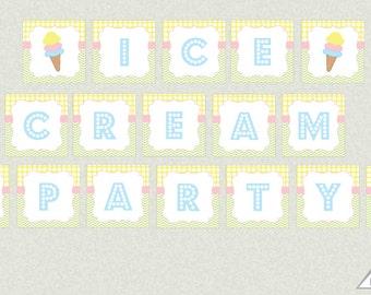 Ice Cream Party Banner, Ice Cream Parlor Banner, Printable PDF, Instant Download, Ice Cream Birthday, Ice Cream Social