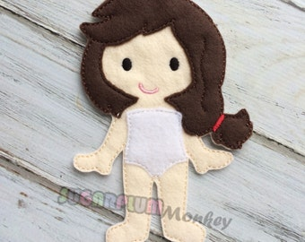 Sophia Felt Paper Doll, Cloth Doll, Flat Doll, Unpaper Doll, Non Paper Doll, Children's Toy, Travel Toy