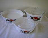 Vintage Retro  1970s Corning Ware Merry Mushoom Casserole Dishes Set of Three, two with lids  **Epsteam