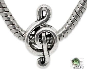 European Bead: Treble Clef, Music Bead, 18x9mm, Hole 4.7mm, Music Charm, European Music Bead, Treble Clef Bead, EUR093