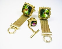 Vintage Mesh Wrap Cufflinks Tie Tack Pin DANTE goldtone volcano watermelon rivoli glass Men Jewelry Formal Wear Groom Gentleman Dad Gift