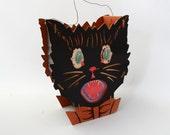 Rare Vintage Halloween Black Cat Paper Cardboard Lantern 1920 German