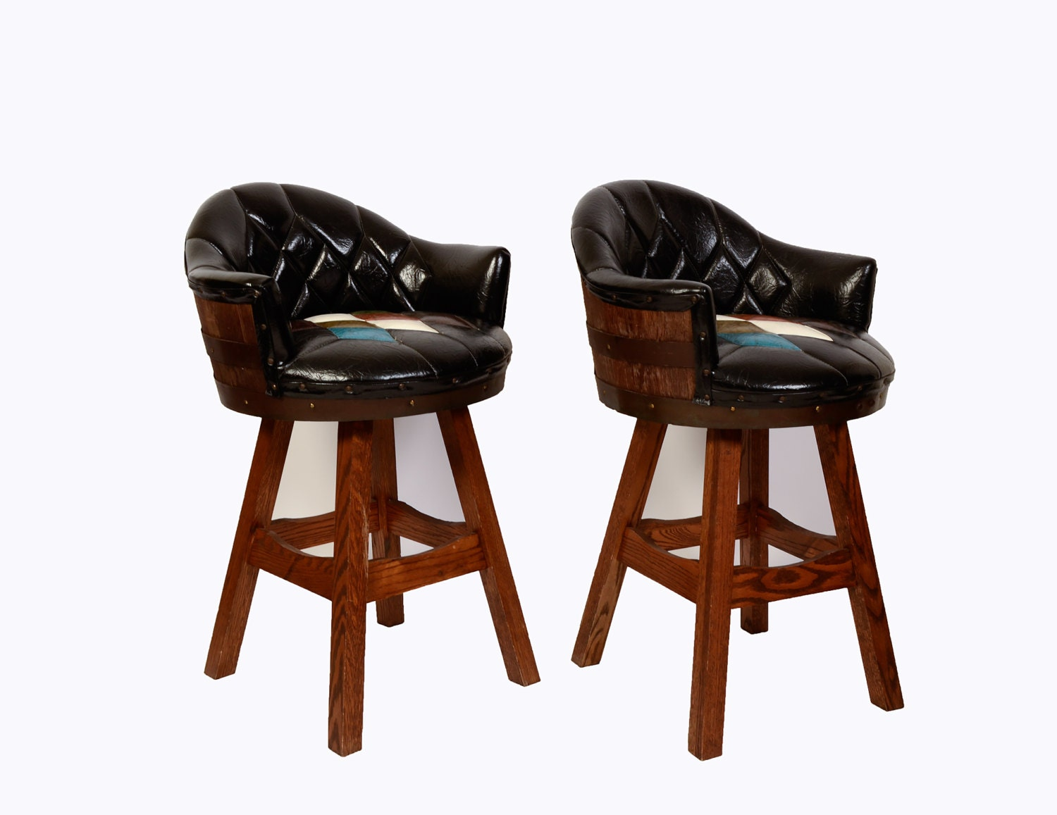 Whiskey Barrel Bar Stools Pair Mid Century Man Cave