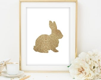 gold glitter bunny printable gold glitter rabbit printable gold glitter nursery printable gold glitter animal printable poster art