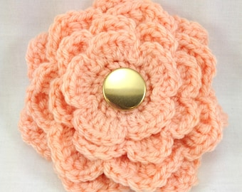 Peach Flower Brooch, Peach Flower Crochet Pin, Crochet Brooch, Peach Corsage