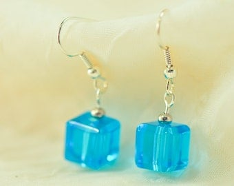 Aqua blue, glass cube earrings
