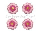 UNCUT RTS Pink Tropical Flower applique embellishment felties(4)
