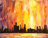 Downtown Chicago Painting by Ryan Fox
