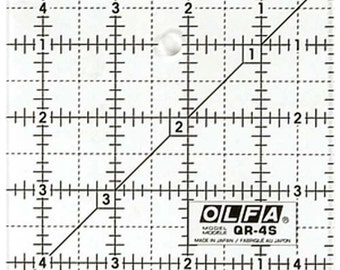 """OLFA 4 1/2"""" Square Frosted Acrylic Ruler (QR-4S)"""