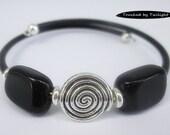 Memory Wire Cuff - Black Obsidian - Rubber Cord Bracelet