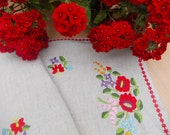 Handmade embroidered table cloth, flowers, colorful, embroidered canvas, unique table cloth,
