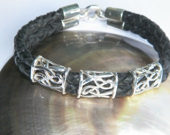 Handcrafted .925 Sterling Silver Elements and Double 6 mm Bolo Braided Leather Bracelet