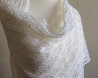 Hand Knitted Lace Wedding Shawl, Wrap, Stole in White Merino Yarn Made to Order
