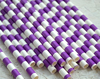 Purple Circular Striped Paper Straws