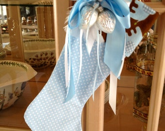Baby Blue Little Boy Christmas Stocking