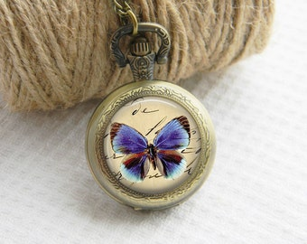 Pocket Watch Necklace Art Photo Pendant Watch Blue Butterfly Locket Necklace (001)